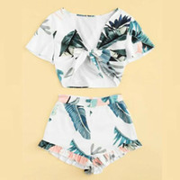 2020 Fashion Floral Women Summer 2Piece Set Crop Top and Sho...