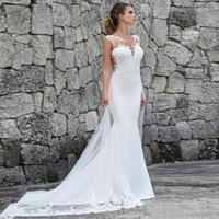 2019 Pizzo Mermaid Bohemian Wedding Dresses Satin Lace Applique Sweep Train Beach Boho Wedding Abiti da sposa