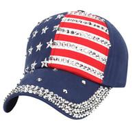 Hip-Hop-Kappe USA Baseballmütze Frauen Männer Sommer 2018 American Flag Kristall Baseball-Hysteresen Hip Hop-Hut Frauen Kappen