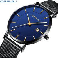 sport degli uomini Orologi CRRJU marca superiore di lusso di business maschile classico regalo Mesh Strap orologi Relogio Masculino Mens Data Clock