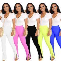 Femmes Fashion Causal Vêtements Mode Designers Femmes Pantalons Solid Couleur Slim Split Pantalon Micro Flared Track