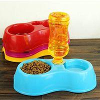 Alimentador de mascotas portátil De plástico de doble puerto Alimentador automático Beber agua Cuencos de alimentación Cuencos para gatos Mascotas Perros Sin botella