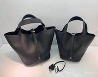 Hot Ins Fashion 18CM 22CM Brand Bucket Totes Soft Cowhide Ge...