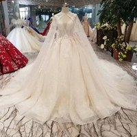 Sexy Elegant Wedding Gowns With Long Tulle Applique Cape V- N...