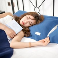 Funda de almohada 2 unids / par de algodón puro gasa de algodón de colores sólidos transpirable suave almohada de doble cara para cama sofá cama decorativo