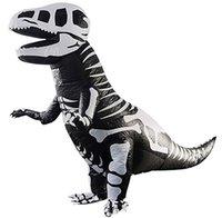 T-Rex İskelet Dinozor Çocuklar için Şişme Kostüm Trex Fantezi Elbise Cadılar Bayramı Takım Elbise Parti Maskot Tulum