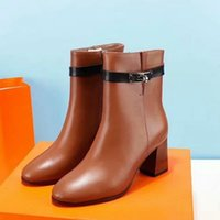 Brand Women Cow leather Short Boots fashion Chunky Heel Boot...
