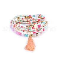 Bohemian Beach braccialetti a cristallo multistrato Perline donne di modo di nappa fascino dei braccialetti signora Jewelry Girl Party regalo di festival TTA1203-14
