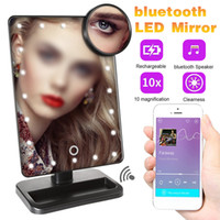 Bluetooth Makeup Mirror с 20 света Светодиодный сенсорный экран 10x увеличительные зеркала столовые настольные макияж Makeup Vantity 180 градусов Поворотное зеркало