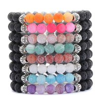 Weathered Agate 8mm Black Lava Stone Beaded Bracelet Essenti...