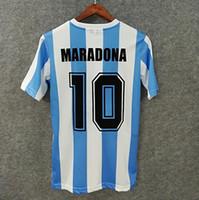 1986 아르헨티나 레트로 축구 유니폼 사용자 정의 이름 번호 Maradona 10 Enrique 12 Batista 2 3D 벨벳 글꼴 축구 셔츠 품질