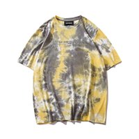 2019 New Tie Dyed T-shirt Version coréenne de l'été Harajuku Bf Wind Loose Wild Long Super Fire Ins à manches courtes Marée SH190813