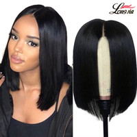 Malaysian 4x4 Straight Human Hair Lace Frontal Wigs Short St...