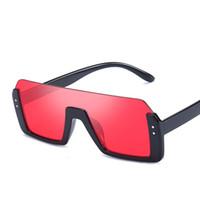 Nuovi occhiali da sole semi-rimless piatti per uomo e donne Designer Brand Glass Occhiali Unisex Vintage Mezza cornice Eyewear
