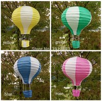 10pcs / lot 12 pollici (30cm * 48 cm) multicolore Mongolfiera lanterna di carta che desiderano le lanterne per il regalo decorazione festa nuziale di compleanno