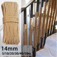 KIWARM 14mm 5m-50m Natur Jute Seil Bindfäden Seil Verdrehte SchnurMacrame String-DIY handgemachte Dekoration Pet Verkratzen