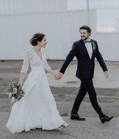 저렴한 레이스 라인 컨트리 웨딩 드레스 섹시 백리스 보헤미안 비치 Boho Bridal Gowns 3/4 긴 소매 쉬폰 신부 드레스 플러스 사이즈