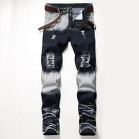 Distrressed Blau Weiß Löcher Stretch Männer lange Jeans Regular mittlere Taille Gerade Mens Pants Mode Male Bekleidung