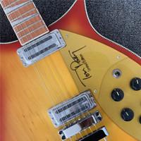 Ücretsiz Kargo RIC 660 12 Dizeleri Kırmızı Sunburst Elektro Gitar Boyun Beden, Parlak Vernik Kırmızı Klavye, Dama Tahtası Bağlama, Altın
