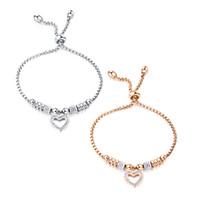 Мода личности в форме сердца кристалл кулон браслет Творческий дамы из нержавеющей стали розовое золото регулируемый браслет 3-GS1022