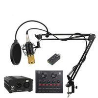 BM 800 Profesyonel Kondenser Mikrofon bm800 Ses Vokal kayıt Bilgisayar karaoke Phantom için güç pop filtre Ses kartı