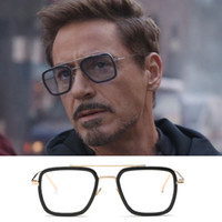 Tony Stark Sonnenbrillen Herren Iron Man Square Sonnenbrillen Retro Gradient Transparent Brillen Robert Downey Jr Goggles