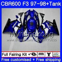 Blau schwarz stock body + tank Für HONDA CBR 600 FS F3 CBR600RR CBR 600F3 97 98 290HM.4 CBR600 F3 97 98 CBR600FS CBR600F3 1997 1997