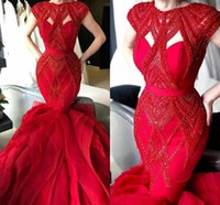 Sexy Red Mermaid Cap Sexy Abiti da sera Vintage Beaded Ruflles Prom Gown Plus Size Sweep Sweep Train Party Party Red Tappeto Abbigliamento