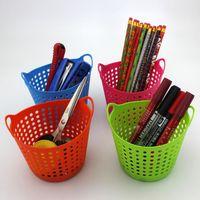 Plastik Kozmetik Makyaj Fırçalar Mesh Depolama Sepeti Organizatör Ofis Malzemeleri Kalem Kalem Tutucu Kutusu Masaüstü Mini Çöp Can # 199
