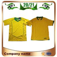 2006 Brasilien Retro-Version # 8 KAKA Fußball-Trikot 2004 Startseite # 9 RONALDO # 10 RONALDINHO Fußballhemd Nationalmannschaft FRED ADRIANO Fußball-Uniform