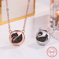 S925 Collana con pendente in argento sterling Personalità Moda Wild Round Swan Shape Maglione Chain Regalo di compleanno 2019 New Hot