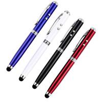 Durable 4 en 1 capacitif pointeur laser lumière LED torche écran tactile Stylus stylo à bille pour iPhone en gros et la meilleure qualité