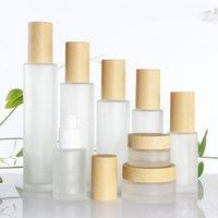30ml / 40ml / 60ml / 80ml / 100ml de vidro fosco cosmético Creme Jar Garrafa Face Cream Pot Loção bomba com plástico imitação de bambu Tampas