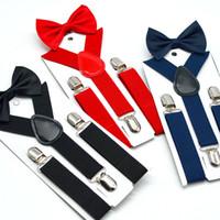 42 colori nuovi bambini dei capretti delle ragazze del ragazzo Clip-on y Back Bretelle elastiche con farfallino Set regalo bretelle regolabili