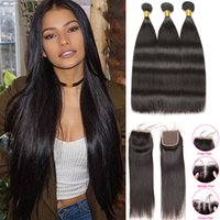 Straight Hair Bundles With Closure Raw Virgin Indian Hair Ex...