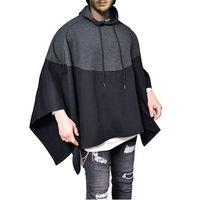 Beiläufiges Party-Hoodie der Männer Hip Hop Stitching Splice Sweatshirts Pullover unregelmäßiger Rand Poncho-Umhang mit Kapuze Männlich Street Y200519