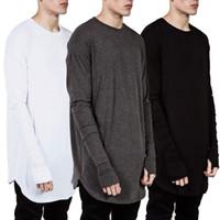 Мода мужская одежда 2021 TEE повседневная длинная полная футболка смешной простой о-с шеи спортивные хлопковые тройники белые черные твердые футболки вершины