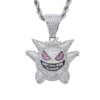 Gold / Silver Hip Hop Мужчины Женщины цепи ожерелье Медь Материал Iced Out Full Мультяшные персонажи CZ кулон Necklacs ювелирные подарки
