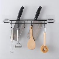الحائط 6 هوك مطبخ الرف الحديد المطاوع الرئيسية حرة الضرب متعدد الوظائف أداة حامل سكين مكملات مطابخ