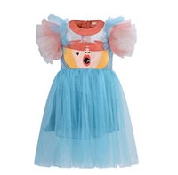 INS Girls lace tulle tutu dress kids cartoon embroidered pri...