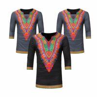 New elegante caldo di vendita degli uomini casuali con scollo a V stampa etnica tre quarti manica di base Tee Tops Ragazzi Slim Fit Tops T-shirt S-XXXL