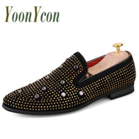 Oxford Shoes for Men Slip-On Men Scarpe a punta Scarpe da sposa moda Rivet Luxury Party Mens Mocassini formali Casual