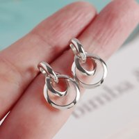 Authentic 925 Sterling silver Interlocking open Circles Geom...