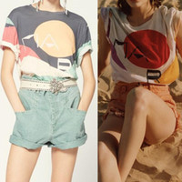Mulheres Color Imprimir Arte Design 20isa Mar Tops T-shirt T-shirt Manga Curta Senhora Temperamento Temperamento de Alta Qualidade