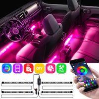 Luzes interiores do carro, LED Strip RGB App IR Controlador Design 4 pcs 48 LED DIY Multicolor Música sob Kits de iluminação à prova d'água, DC 12V