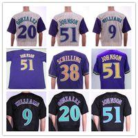 빈티지 애리조나 저지 51 Randy Johnson Jerseys 20 Luis Gonzalez 44 Paul Goldschmidt 38 Curt Chilling 9 Matt Williams 야구 유니폼