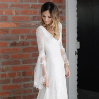 2019 New Lace Long Country Wedding Dresses Sexy V Neck Long ...