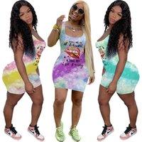Kadınlar Elbiseler Yaz Marka Mektupları Tasarımcı Baskı Seksi Yelek Kolsuz Elbise Dudak Batik Moda Casual Tişörtlü Etek BODYCON Elbiseler D6502