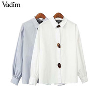 Vadim women chic sweet solid oversized long blouse long slee...