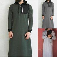 Homens muçulmanos vestindo roupão de longa duração thobe árabe Saudita Jubba Man Paquistão Kaftan Abaya Sweatshirt Camisolas islâmicas vestindo S-3XL